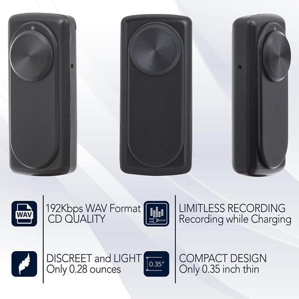 Modul Reportofon 8GB, Activare Vocală, 20 de Ore Autonomie și Capacitate de Stocare 90 de Ore, Model DOTON 9mm Grosime 4