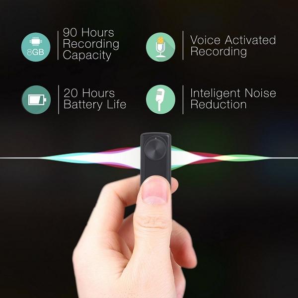 Modul Reportofon 8GB, Activare Vocală, 20 de Ore Autonomie și Capacitate de Stocare 90 de Ore, Model DOTON 9mm Grosime 6