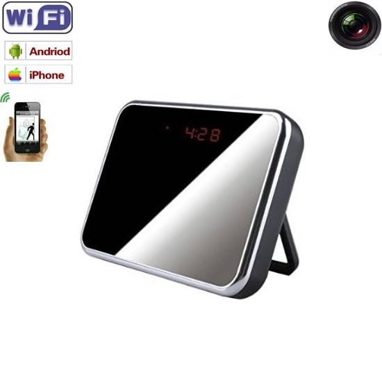 Microcamera spion wi-fi ip p2p ascunsa in ceas de birou,senzor miscare,32Gb,1080p 0