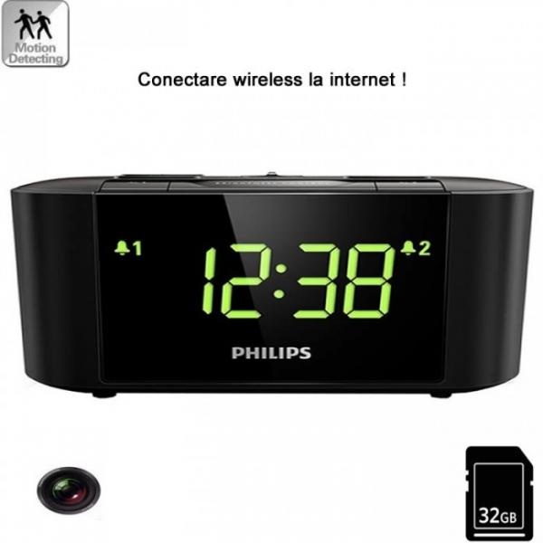 Camera spion WI-FI IP P2P camuflata in ceas de birou cu radio 0