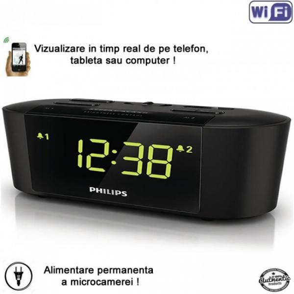 Camera spion WI-FI IP P2P camuflata in ceas de birou cu radio 2