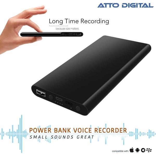 Reportofon Spion Ascuns în PowerBank, Autonomie 380 Ore, Funcție de Activare Vocală, Sunet UltraClear, Memorie 8GB,  Slim PowerREC 0