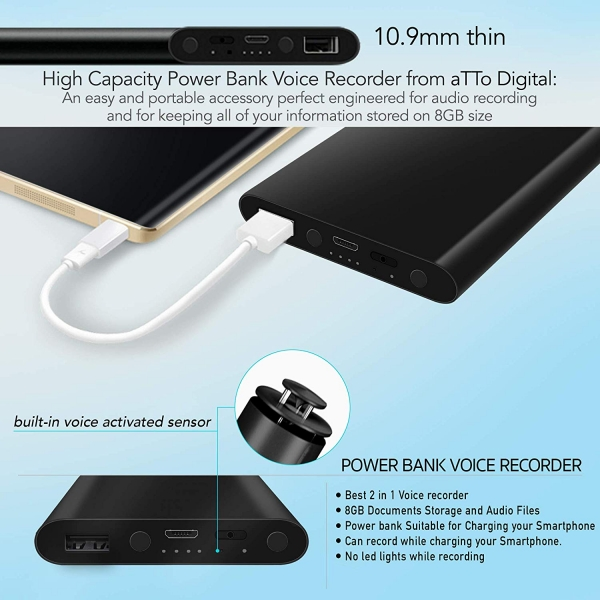 Reportofon Spion Ascuns în PowerBank, Autonomie 380 Ore, Funcție de Activare Vocală, Sunet UltraClear, Memorie 8GB,  Slim PowerREC 2