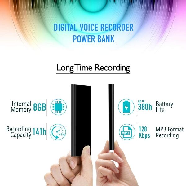Reportofon Spion Ascuns în PowerBank, Autonomie 380 Ore, Funcție de Activare Vocală, Sunet UltraClear, Memorie 8GB,  Slim PowerREC 3