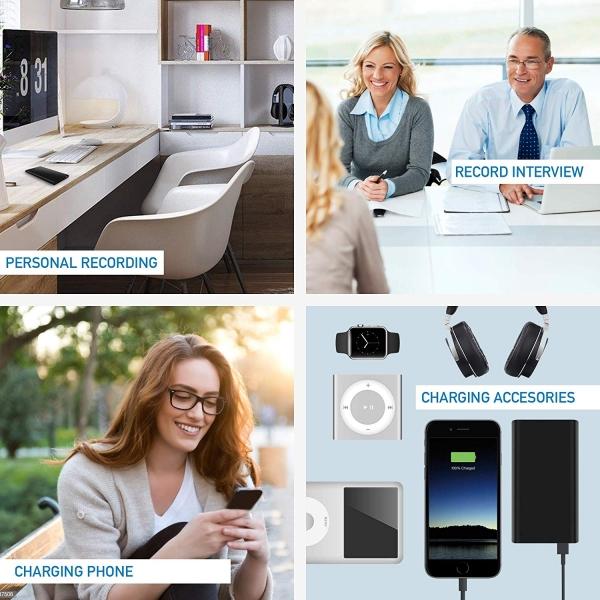 Reportofon Spion Ascuns în PowerBank, Autonomie 380 Ore, Funcție de Activare Vocală, Sunet UltraClear, Memorie 8GB,  Slim PowerREC 6