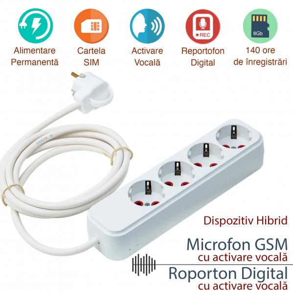 Prelungitor Hirid Spy cu Reportofon (Activare Vocala) + Microfon GSM (Activare Vocala) – Model Profesional, 140 Ore Stocare 0