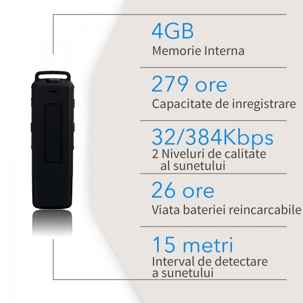 Reportofon Spion Ultra-Profesional Camuflat în Stick USB cu Activare Vocală | 8GB/564 de ore | Clear HD 384kbps/32kbps | Baterie 26 de Ore | Căști Incluse | MAA-V8GB 7