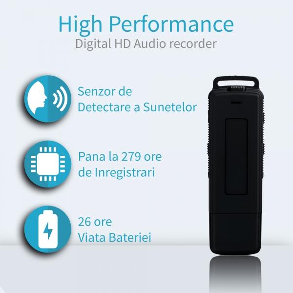 Reportofon Spion Ultra-Profesional Camuflat în Stick USB cu Activare Vocală | 8GB/564 de ore | Clear HD 384kbps/32kbps | Baterie 26 de Ore | Căști Incluse | MAA-V8GB 1