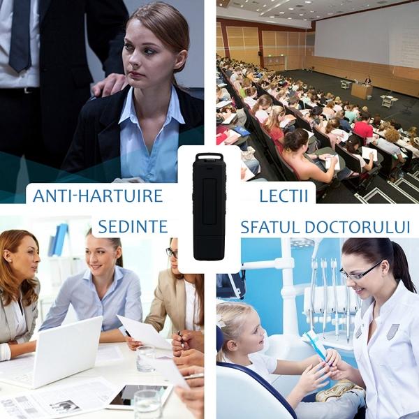Reportofon Spion Ultra-Profesional Camuflat în Stick USB cu Activare Vocală | 8GB/564 de ore | Clear HD 384kbps/32kbps | Baterie 26 de Ore | Căști Incluse | MAA-V8GB 8
