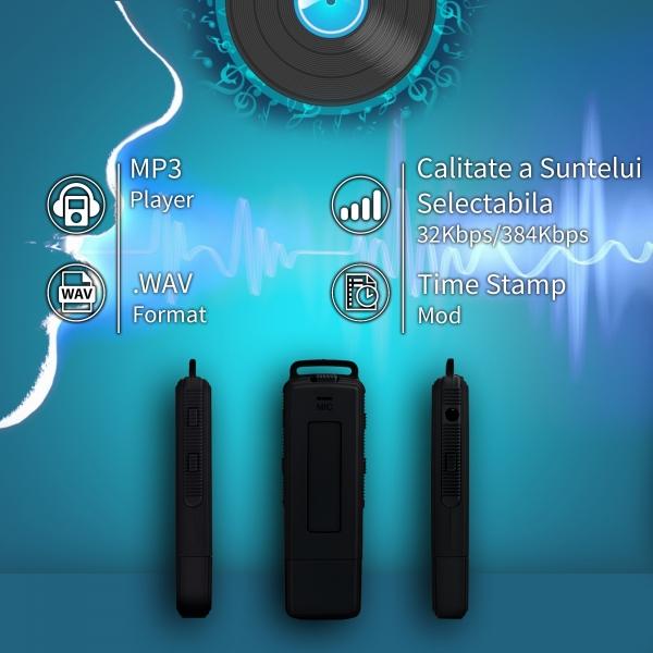 Reportofon Spion Ultra-Profesional Camuflat în Stick USB cu Activare Vocală | 8GB/564 de ore | Clear HD 384kbps/32kbps | Baterie 26 de Ore | Căști Incluse | MAA-V8GB 2