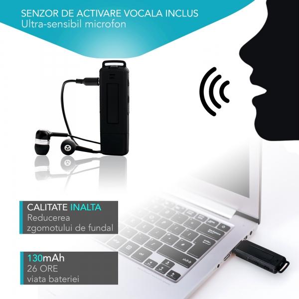 Reportofon Spion Ultra-Profesional Camuflat în Stick USB cu Activare Vocală | 8GB/564 de ore | Clear HD 384kbps/32kbps | Baterie 26 de Ore | Căști Incluse | MAA-V8GB 5
