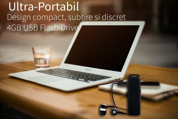 Reportofon Spion Ultra-Profesional Camuflat în Stick USB cu Activare Vocală | 8GB/564 de ore | Clear HD 384kbps/32kbps | Baterie 26 de Ore | Căști Incluse | MAA-V8GB 3