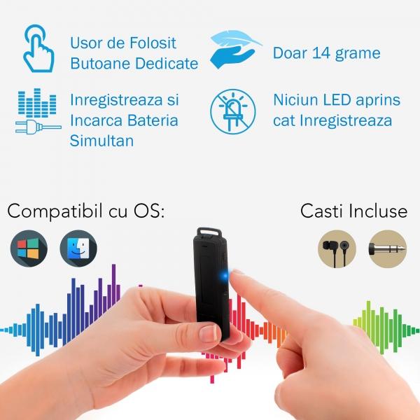 Reportofon Spion Ultra-Profesional Camuflat în Stick USB cu Activare Vocală | 8GB/564 de ore | Clear HD 384kbps/32kbps | Baterie 26 de Ore | Căști Incluse | MAA-V8GB 4