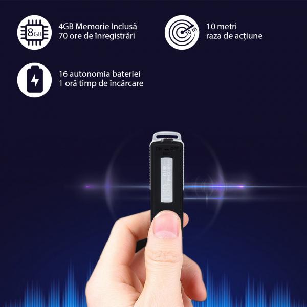 Reportofon Spion Camuflat în Stick de Memorie de 4GB | 70 ore de Înregistrare | 16 Ore Autonomie Baterie |  RMVR4GB 0