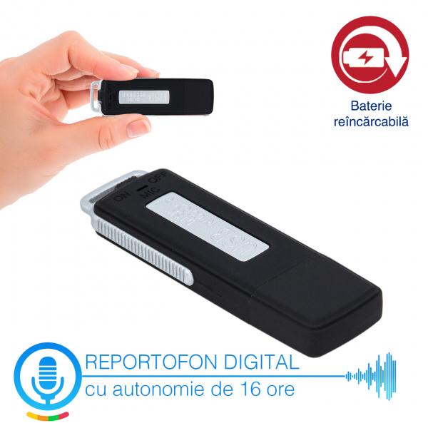 Reportofon Spion Camuflat în Stick de Memorie de 4GB | 70 ore de Înregistrare | 16 Ore Autonomie Baterie |  RMVR4GB 1