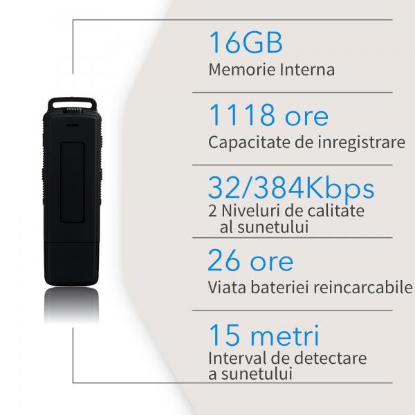 Reportofon Spion cu Activare Vocala in Stick USB, 16Gb-1128 de ore, 26 de ore autonomie, Ultra-Profesional 7
