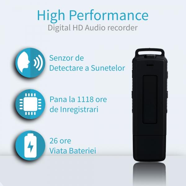 Reportofon Spion cu Activare Vocala in Stick USB, 16Gb-1128 de ore, 26 de ore autonomie, Ultra-Profesional 0