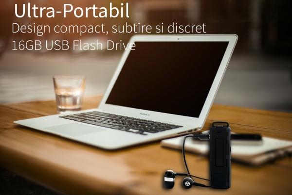 Reportofon Spion cu Activare Vocala in Stick USB, 16Gb-1128 de ore, 26 de ore autonomie, Ultra-Profesional 2