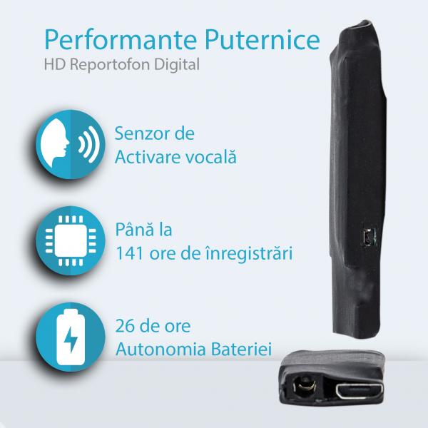 Reportofon Spion Profesional de Dimensiuni Minime | Memorie Integrata: 8GB | 1408 Kbps Ultra Clear HD sound | Casti pentru Ascultare Directa | Raza de actiune de pana la 25m 1