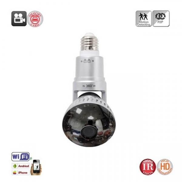 Camera Video Ip Wi-fi DVR pentru Spionaj Discret Camuflata in Bec Corp Rotativ Extensibil 1