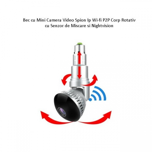 Camera Video Ip Wi-fi DVR pentru Spionaj Discret Camuflata in Bec Corp Rotativ Extensibil 3
