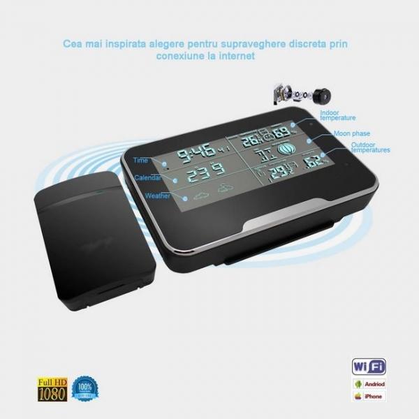Statie meteo cu minicamera video pentru spionaj IP wi-fi, p2p, full HD 1