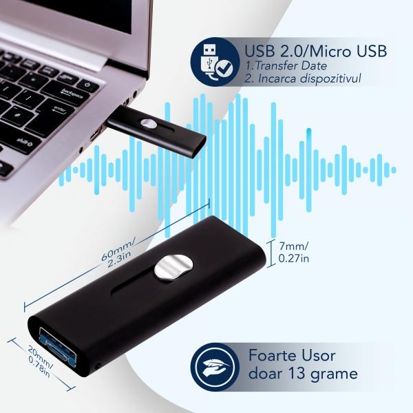 Stick USB de Memorie cu Activare la Voce, 16Gb -  Stocare 296 de Ore, 18 Ore Autonomie 7
