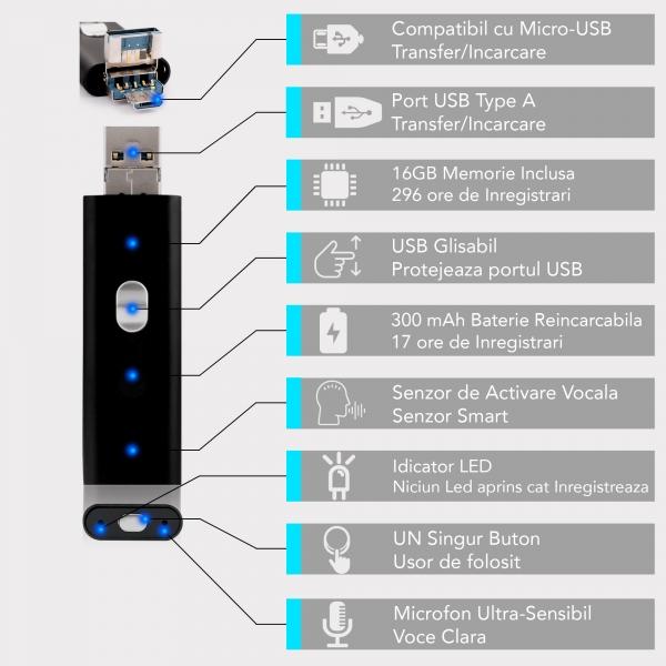 Stick USB de Memorie cu Activare la Voce, 16Gb -  Stocare 296 de Ore, 18 Ore Autonomie 8