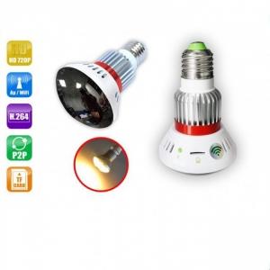 Camera Ip Spion Wi-Fi Ascunsa in Bec cu Rezolutie 720p, Infrarosu , Emite Lumina Galbena 5W, Lentila Oglinda Perfect Camuflata , P2P ,CSBC785YL9400