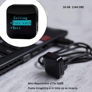 Reportofon pentru Spionaj Audio cu Parola si Activare Vocala Setabila, Model Profesional, Memorie Interna 16Gb - 1144 de ore - 1536 kbps , aTTo 16GB1