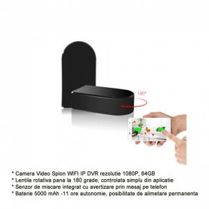 Camera Video Spion pentru Supraveghere Wi-Fi, Ip + DVR, Full HD 1920x1080p, Lentila Mobila 180 Grade Orientata din Aplicatie, Detector de Miscare0