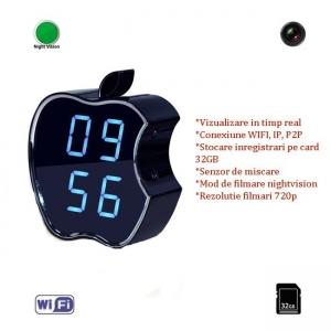 Camera Video pentru Spionaj Audio-Video in Timp Real Wifi, Ip, P2P in Ceas de Birou cu Detector de Miscare si Nightvision0