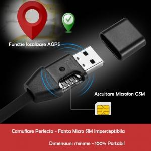 Cablu USB Pentru  Telefon (Android/IOS ) cu GPS TRACKER  si  Microfon GSM cu Activare Vocala TRACK-USB-92