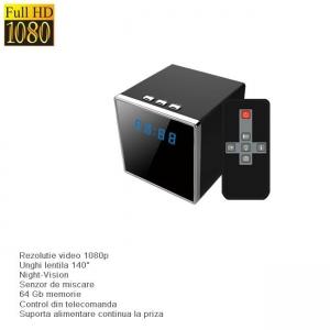 Cameră Video Spy Camuflată în Ceas de Birou cu Nightvision, DVR, Senzor de Mișcare, 64GB, 1920x1080P2