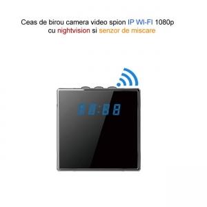 Camera Video Spy IP Wi-Fi Camuflata in Ceas de Birou Cubic, 1920x1080p, Senzor de Miscare2