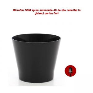 Microfon Gsm Integrat în Ghiveci de Flori Negru, Funcție de Activare Vocală,  2 Microfoane Încorporate1