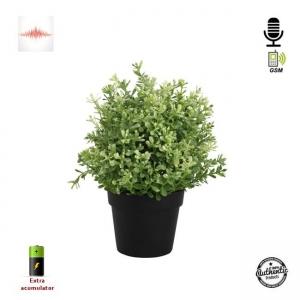 Microfon Gsm Integrat în Ghiveci de Flori Negru, Funcție de Activare Vocală,  2 Microfoane Încorporate2