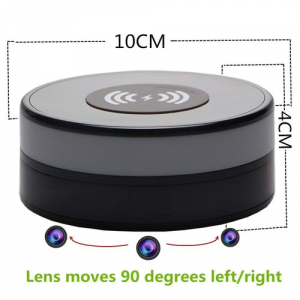 Încărcător Wireless cu Cameră Video Spy, Wi-Fi, Ip, P2P, Rezoluție 1920x1080p, Senzor de Mișcare, Lentilă 160 de Grade, 128GB2