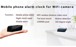 Camera spion WI-FI IP HD Ascunsa in Ceas Desteptor | Infrarosu Nedetectabil | Aplicatie dedicata | Suporta card micro SD de maxim 32 GB | Senzor de Miscare | CCSWIIP1124