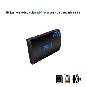 Camera Video DVR IP WiFi cu Senzor de Miscare Integrata in Ceas de Birou Spion | 1080P | 32GB | CSIP28882