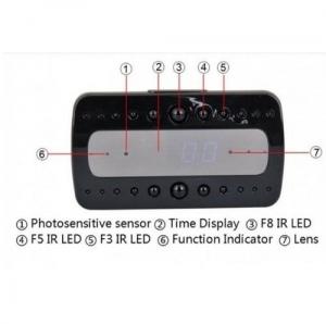 Microcameră Video Spion WI-FI, IP, P2P în Ceas de Birou pentru Spionaj Discret |32GB | HD | Senzor de Mișcare IR | CCSWIIP1142