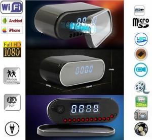 Cameră Video Wi-Fi Pp P2P Spy Încorporată în Ceas de Birou cu Senzor de Mișcare și Night Vision0