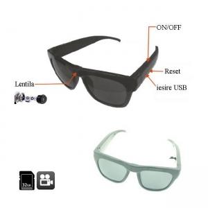 Cameră Video Spy Camuflată în Ochelari de Soare, Card MicroSD 32GB, 1280x720p, 2 Ore Autonomie2