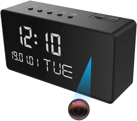 Ceas de birou cu Microcamera Wi-Fi IP Wireless Spy HD Smart, Detector de Miscare, Night Vision, 64GB, CCSWIIP31 [1]