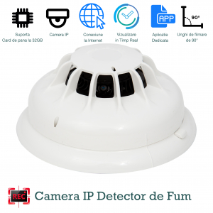 Camera Video Spion Integrata in Detector de Fum cu Wi-Fi Ip, HD, Senzor de Miscare Incorporat, 32GB - DFCSWIIP121