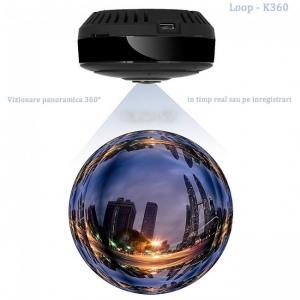 Camera Video Spion WiFi IP, 360 de Grade, Filmare pe Timp de Noapte, Unghi Lentila 180°, Detector de Miscare, 128Gb0