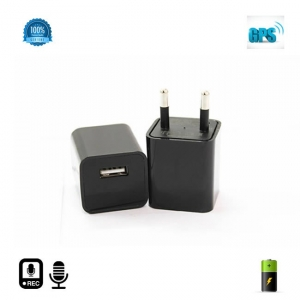Microfon Spy HIBRID cu Reportofon 2400 de Ore + Microfon Gsm cu Detectie Voce + AGPS Mascat in Incarcator USB Negru0