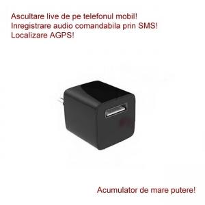 Microfon Spy HIBRID cu Reportofon 2400 de Ore + Microfon Gsm cu Detectie Voce + AGPS Mascat in Incarcator USB Negru1