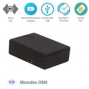 Microfon Spion GSM cu Activare Vocala pentru Ascultare in Timp Real | Comandare prin SMS | 3 Microfoane Incorporate | XSMG108 Model de Top0