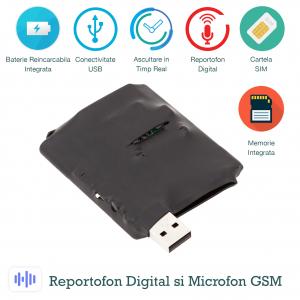Microfon Spion Hibrid - GSM + Reportofon Spy -  Activare Vocală Dublă - 73 de Ore Stocare - Model ACCOMB730